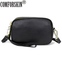 COMFORSKIN New Arrivals Genuine Leather Clutch Bag Large Capacity Three Zipper Linings Messenger Fashion Cross-body Bags