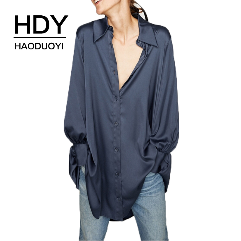 HAODUOYI HDY 2019 Spring Woman Blue Satin Shirt Style Button Asymmetric Hem Long Shirt Fashion Casual Loose Long Sleeve Blouses