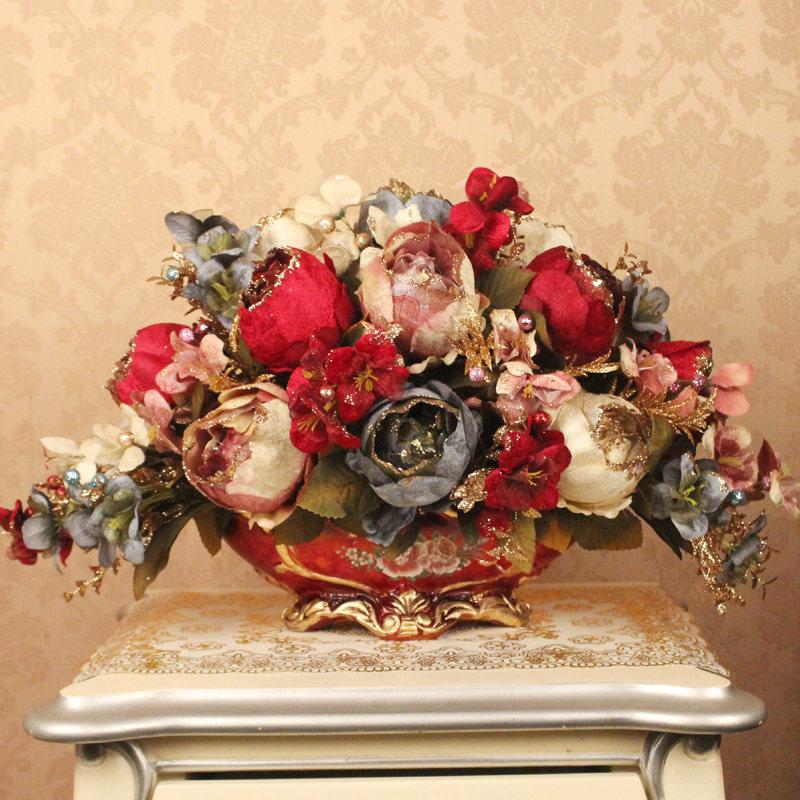 European Resin Vase Artificial Flower Set Crafts Figurines Home Desktop Luxury Peony Fake Flower Pot Plant Ornament Decoration