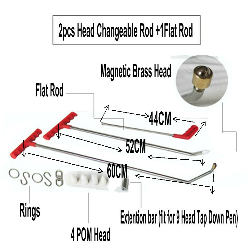 цена на Magnetic PDR Hook Tools Push Rod Car Crowbar Paintless Dent Repair Tools PDR Dent Puller Lifter Kits Ding Hail Puller Set