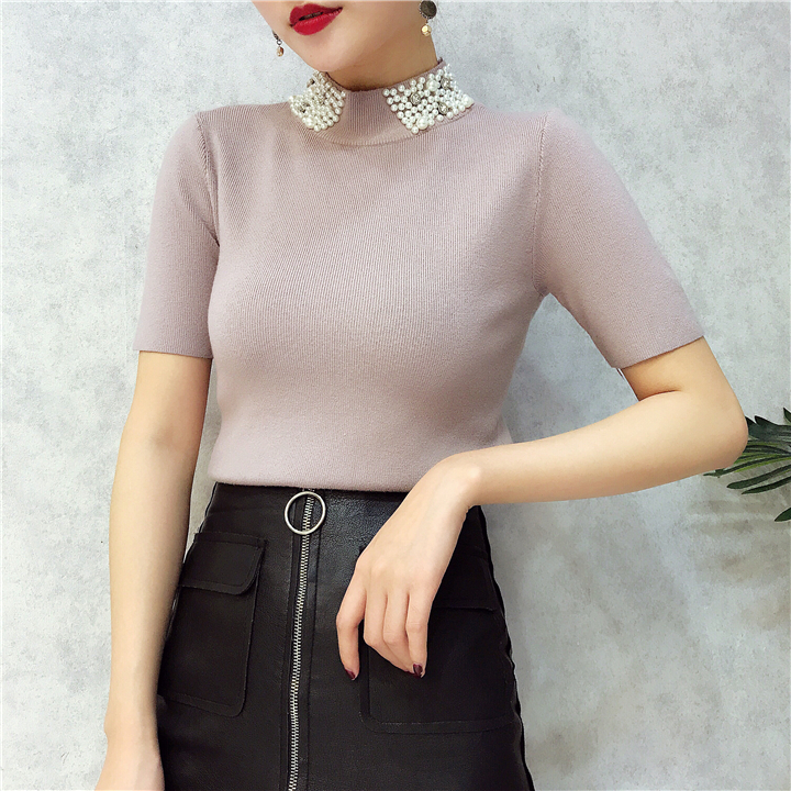 ALPHALMODA 18 Summer Ladies Short-sleeved Pearl Collar Pullovers Casual Slim Knit Sweater Women Studded Fashion Jumpers 32
