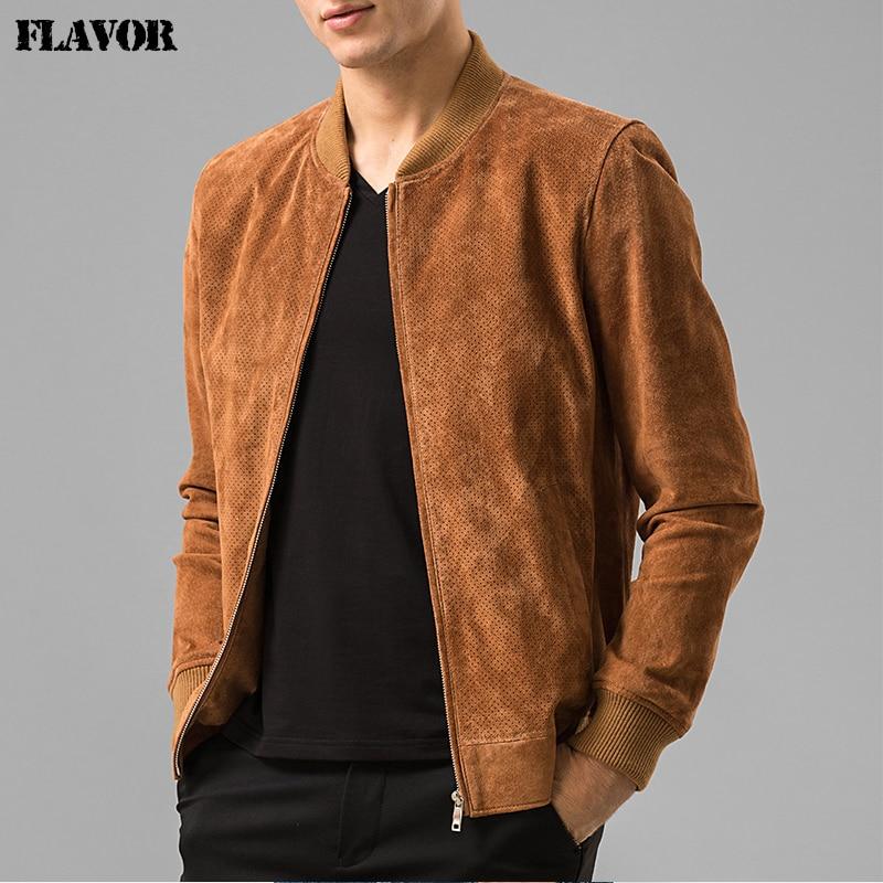Men's Pigskin Real Leather Jacket Genuine Leather Baseball Jacket Men Leather Bomber Jackets Biker Jacket