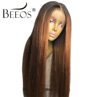 Beeos Ombre Blonde Glueless Full Lace Human Hair Wigs Women Middle Part Straight Wigs Brazilian Remy Hair Pre Plucked Hairline