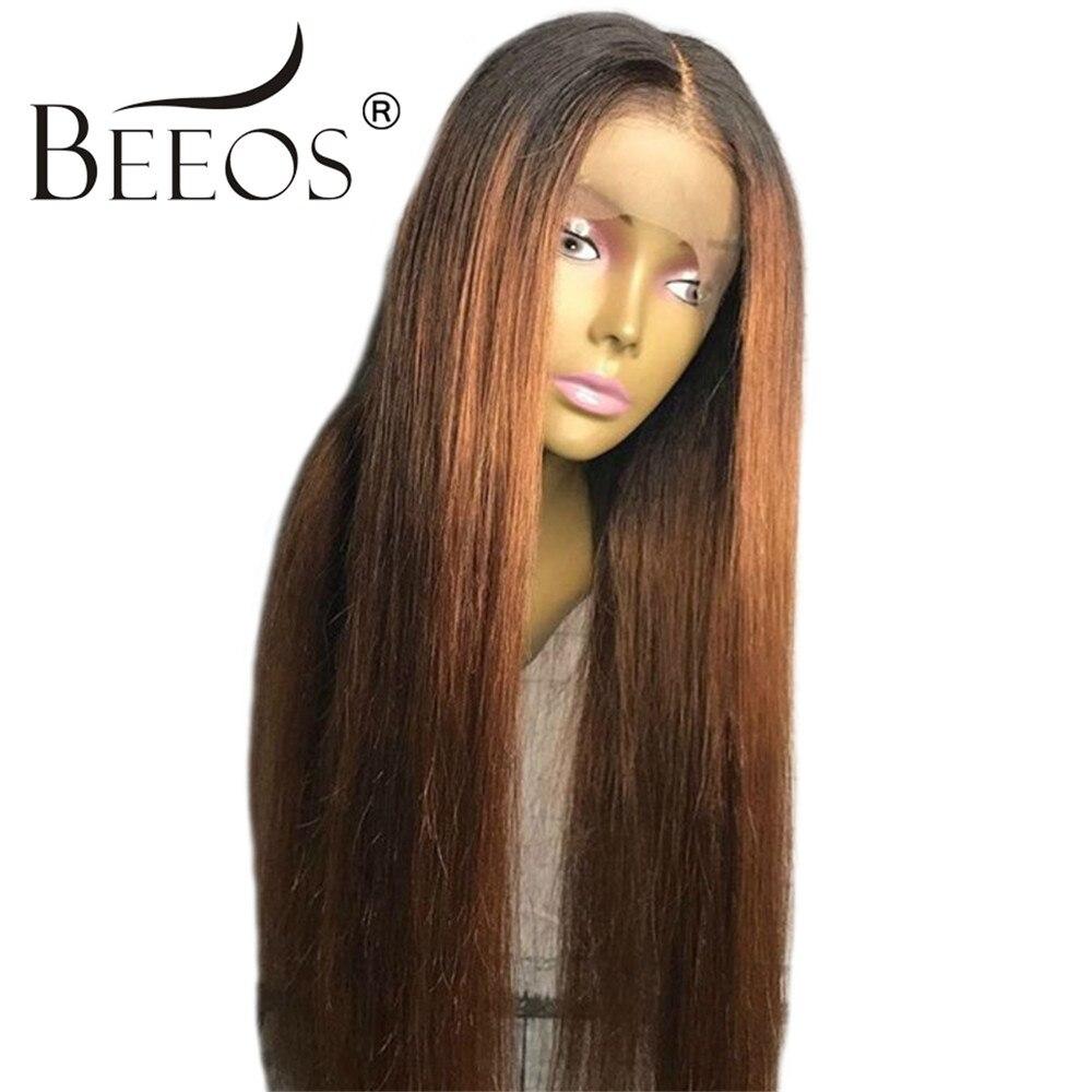 Beeos Ombre Blonde Sans Colle Pleine Dentelle de Cheveux Humains Perruques Femmes Moyen Partie Perruques Droit Brésilien Remy Cheveux Pré Pincées Délié