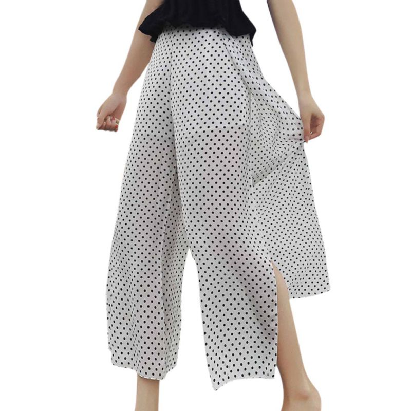 Bottoms Pants & Capris Casual Dot Print High Waist Loose Chiffon Split Ankle-length Wide Leg Pants Women Elastic Waist Trousers Female 2018 Hot Sale