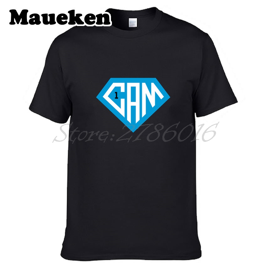 Men Cam Newton #1 logo Super T-shirt Tees Short Sleeve T SHIRT superman Mens Fashion S-X ...