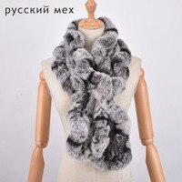 Winter Keep Warm Scarf Super Long Falbala Rex Rabbit Fur Scarf Women Pure Hand Made Neckerchief