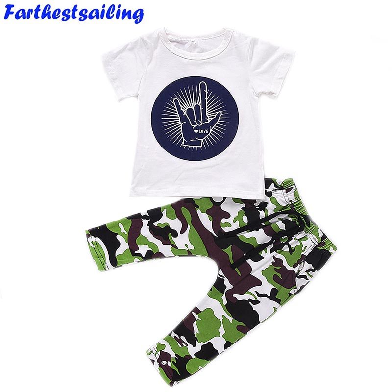 Infant Toddler Baby T-shirt + Shorts Suit Kids Boys Outfits Babies Boy Rock Gesture Tops Camouflage Pants Outfit Set Clothes