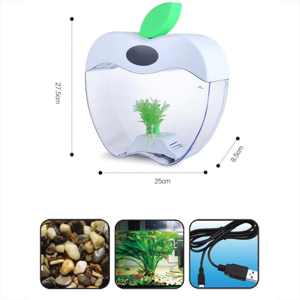 Aquarium USB Mini Aquarium avec LED veilleuse écran LCD et horloge Aquarium personnaliser D20 - 3