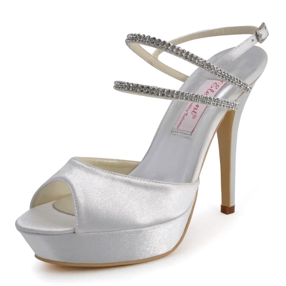 ФОТО EP41001-PF White Peep Toe Pump Platform Stiletto Heels Slingback Rhinestone Satin  Bridal Party Shoes