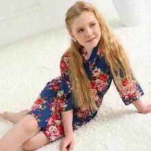 Bath Robes Bridesmaid Dress Nightgown Summer Kimono Soft Cotton Children