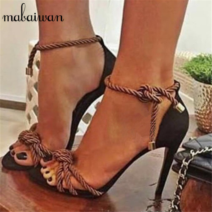 ФОТО 2017 Fashion Rome Style Rope Thin High Heels Gladiator Sandals Lace Up Party Dress Women Shoes Knot Women Pumps Sandalias Mujer