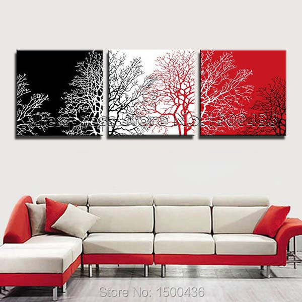 Genial Hand Painted Abstract Trees Oil Paintings 3 Piece Modern Art Black White  Red Canvas Picture Wall