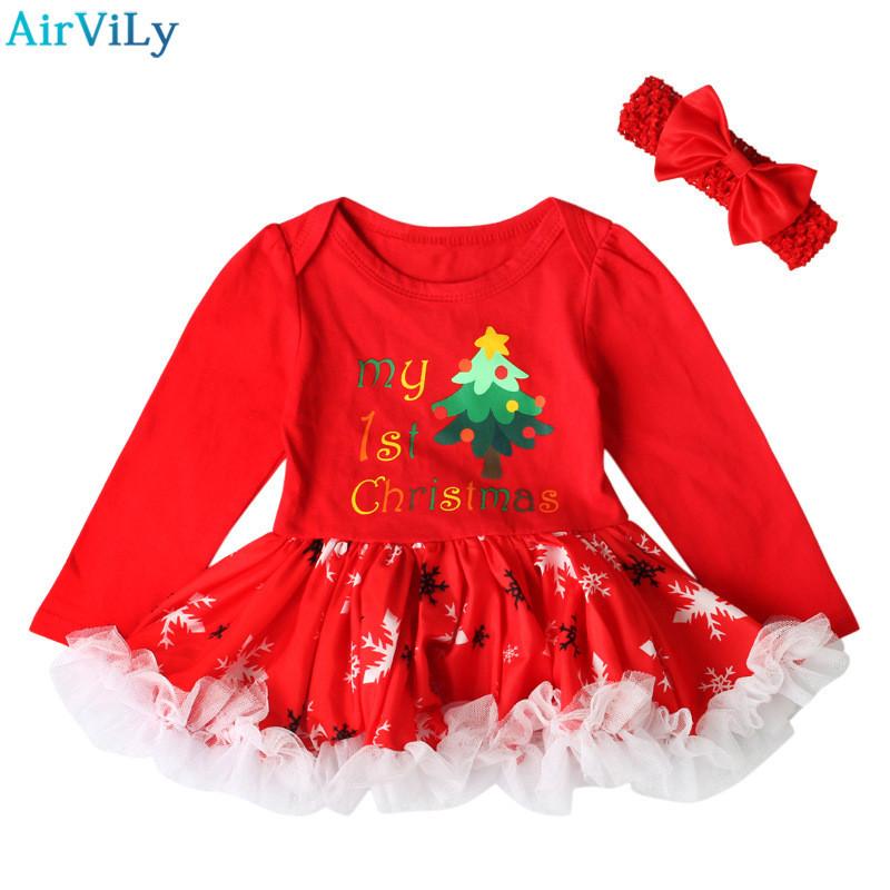 fd82c3539 2017 Año Nuevo niños niña Navidad ropa conjuntos bebé niña dibujos animados  Santa Claus vestido + diadema 2pcs piezas trajes niños traje del partido