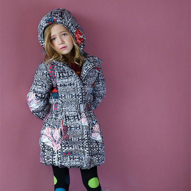 Kidsalon зима Куртки Обувь для девочек одежда 2017 длинные зимние пальто пуховик для девочек парка одежда для детей с Пояса