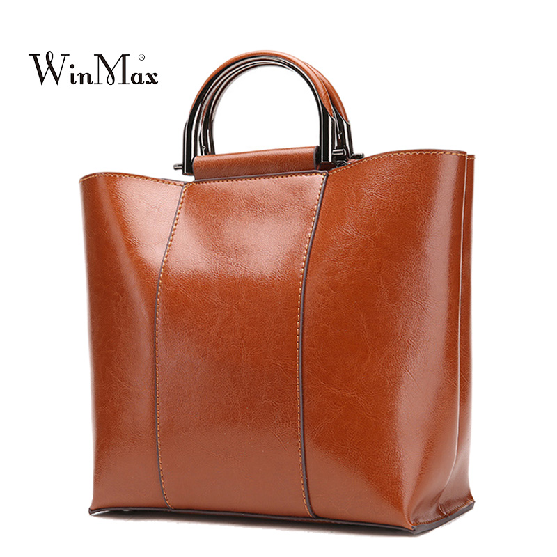 New Cow Leather Bag Women Genuine Leather Handbag Shoulder Bag Women's Handbags Female Vintage Sac a Main Ladies Crossbody Bag new women genuine leather handbags shoulder bag oil wax cow leather tote bags female vintage handbags sac a main ladies hand bag