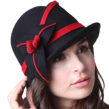 Free Shipping Women Hats For Winter Hats Small Brim 100% Wool Black Hat Winter Beanies Caps
