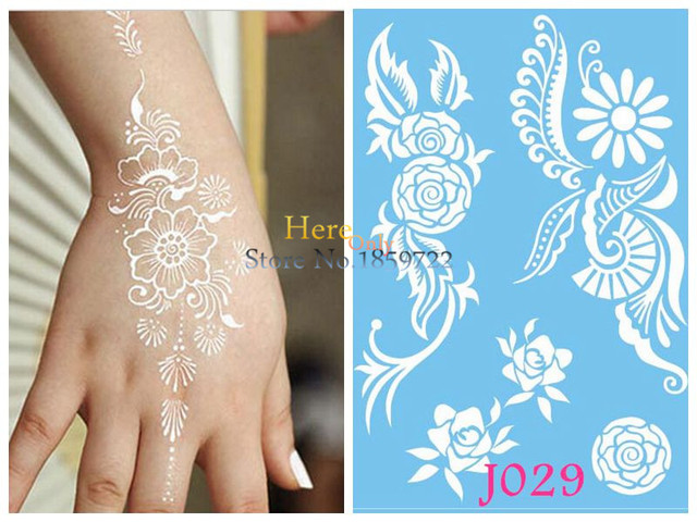 1pc Disposable Large Flower Tattoo Henna White Mehndi Waterproof