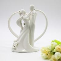 Princess Wedding Decor Dancing Bride and Groom&Heart Figurine Shine Ceramic Wedding Cake Topper Silhouette Romantic Topper