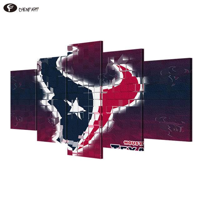 Chen 5 Pieces Canvas Sport Painting Rugby Glove Wall Art Pictures For Living Room Houston Texans