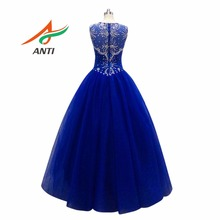 ANTI Royal Blue Quinceanera Dresses Beaded Rhinestones Organza Shimmering Tulle Ball Gowns For 15 Years Sweet 16 Princess