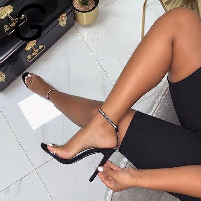 GENSHUO Gladiator Transparent PVC Open Toe High Heel Sandals Sexy Dress Heels for Women Ladies Stiletto Heel Summer Shoes