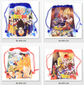 12Pcs Dragon Ball Cartoon Kids Drawstring Printed Backpack Shopping School Traveling Party Bags Birthday Gifts
