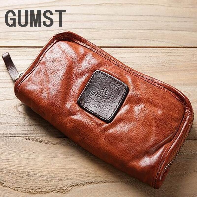 GUMST marque portefeuille femmes en cuir véritable dame sacs à main de haute qualité dames portefeuille Long femme portefeuille Carteira Feminina
