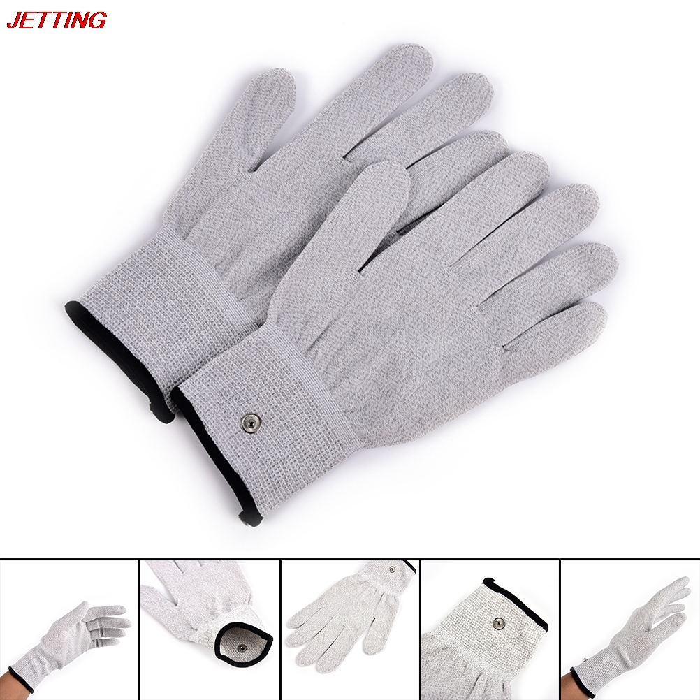 1Pair Electrical Shock Fiber Therapy Massage Electrode Gloves , Electro Shock Gloves Electricity Conductive Gloves