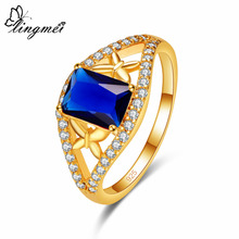 Lingmei Butterfly Fashion Jewelry Gorgeous Blue & Red White Zircon Wedding Bride Yellow Gold Color Ring Size 6 7 8 9