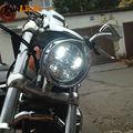 Chrome Motos H4 Alta Baixo Feixe levou farol 5.75 polegada Rodada Conduziu A Lâmpada Do Farol faróis Da Motocicleta para Harley Davidson