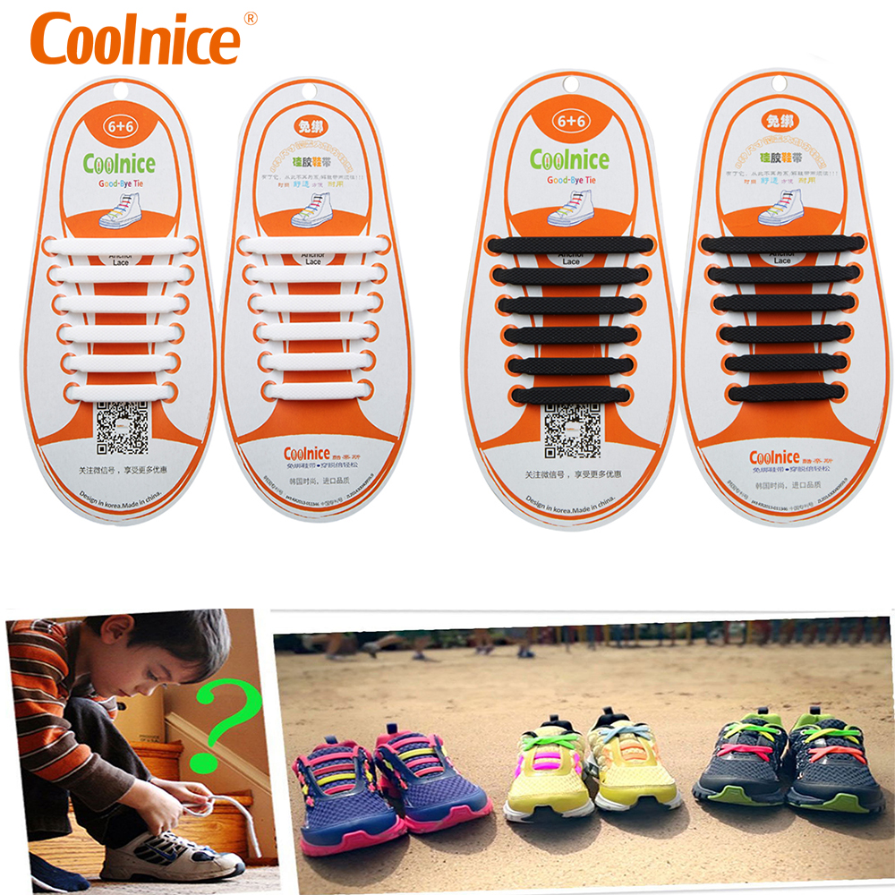 great prices first rate fashion style Coolnice 12pcs/set No tie Shoelaces Elastic Silicone Shoelace Lazy ...