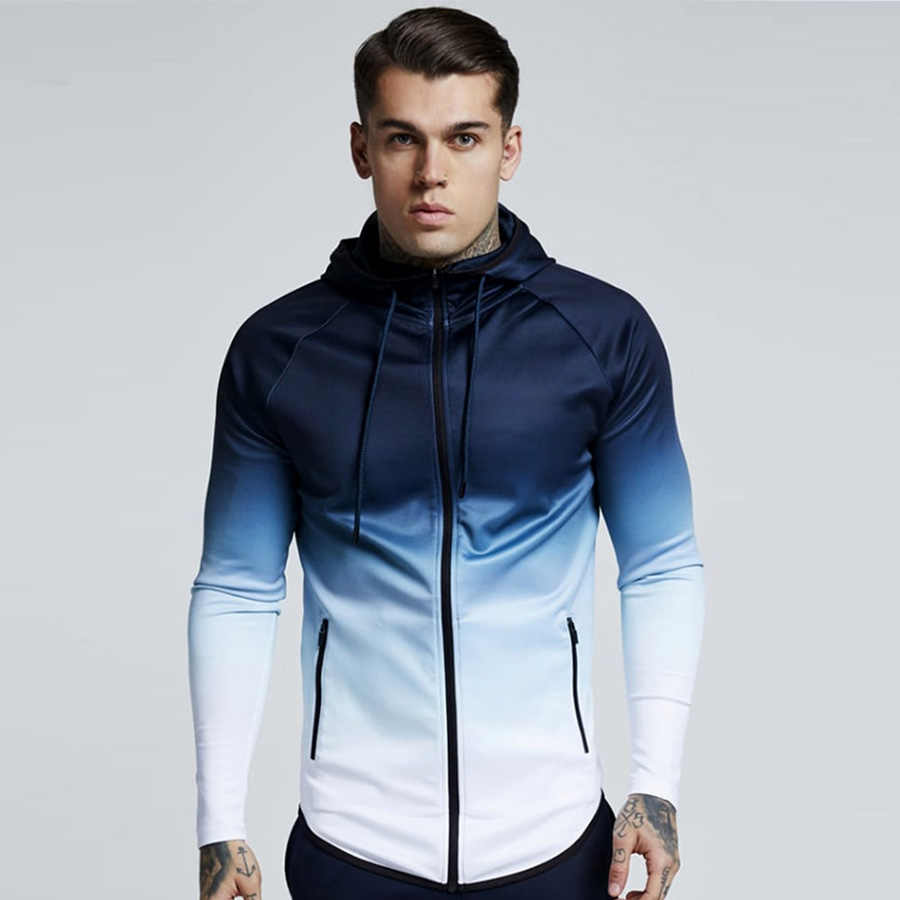 Heren Hooded Running Jacket Gym Training Fitness Sportkleding Wandelen Jersey Winddicht Coat Outdoor Jogging Jassen Mannen Trainingspak