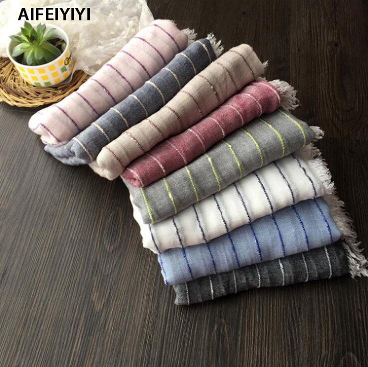 201 Korean striped fold solid color cotton and linen art scarf Korean polyester and linen fold wild color card casual scarf