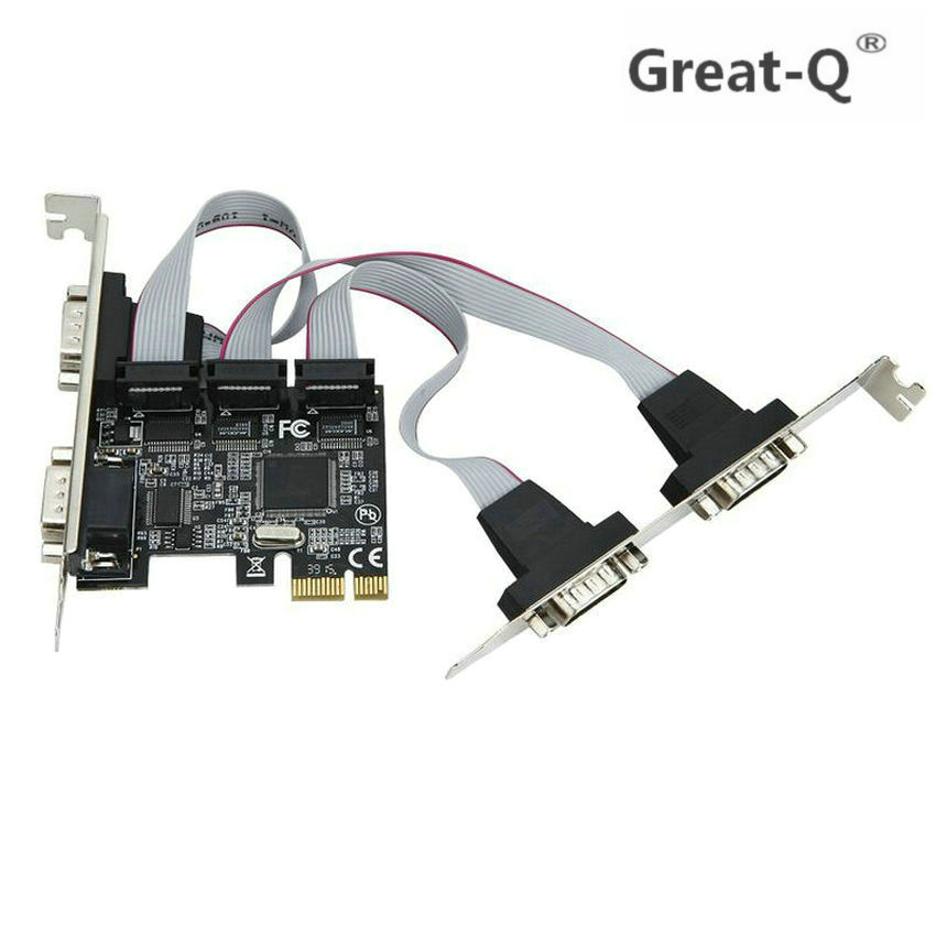 Great-Q  High Quality MOSCHIP PCI Express 4 Ports Serial PCI-e 1x Card Multi RS232 DB9 COM Port To PCIe I/O Riser Card