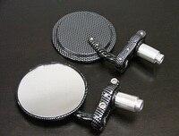 Brand New Black Carbon Fiber 7 8 Bar End Mirrors Round 3 For Kawasaki 100 125