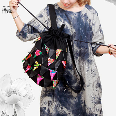 XIYUAN BRAND Exclusive original Ethnic embroidered women backpack Vintage handmade pompon black cotton casual Travel backpack newest hmong embroidered women backpack black canvas ethnic casual travel backpack fashion vintage laptop bags