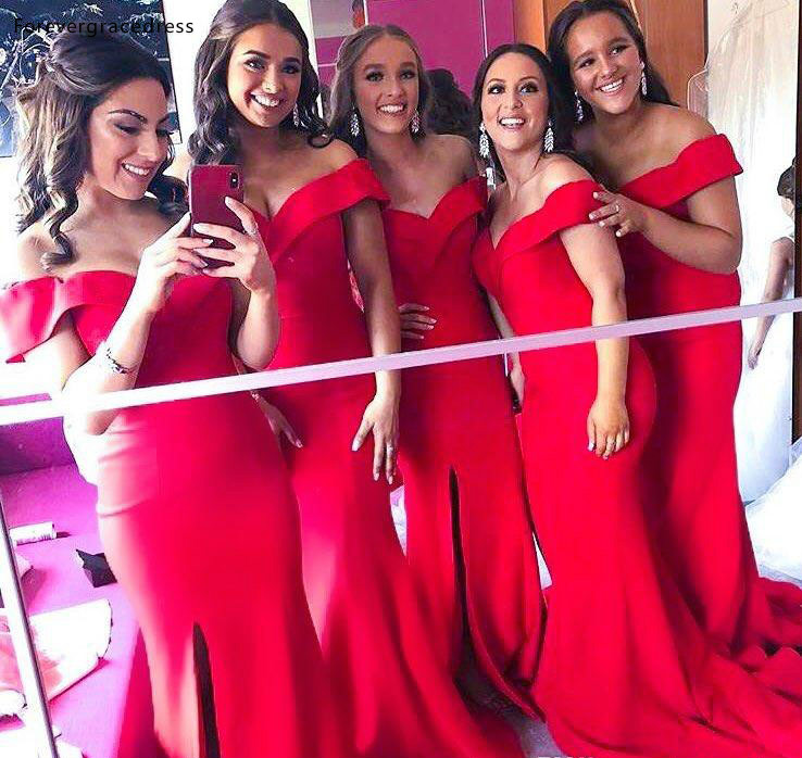 Cheap Red   Bridesmaid     Dress   Off Shoulder Summer Country Boho Garden Formal Wedding Party Guest Maid of Honor Gown Plus Size