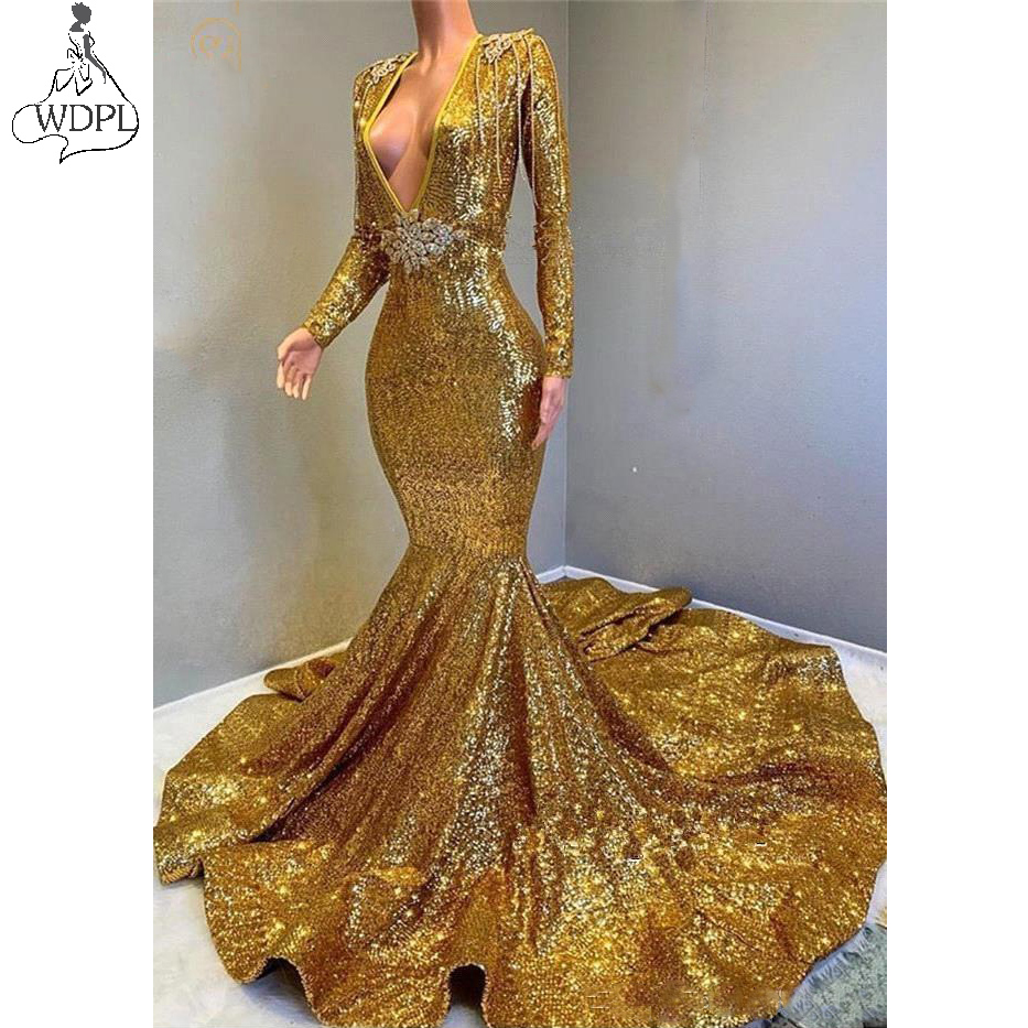 2019 Golden   Prom     Dresses   Long Sleeves Sequined Mermaid Beaded Stones Backless Sweep Train Vestidos de Festa Party Evening Gowns