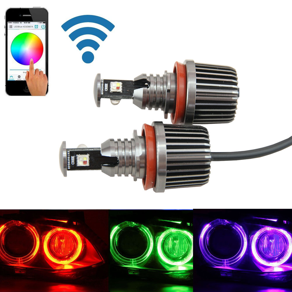 72W H8 RGB Color Change WIFI Control LED Angel Eyes Halo Ring Marker Headlight Bulb for BMW E82 E87 E83 1 3 5 Series X3 X5 X6 Z4 plancha termica para gorras