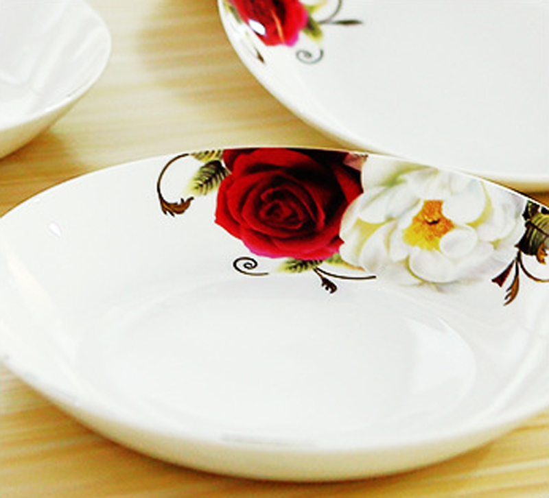 High Grade Dinnerware Bone China Dinner Plate Rice Dish 8 Inch Water rhyme Rose Round Plate Private Home Kitchen Plate-in Dishes \u0026 Plates from Home \u0026 Garden ...  sc 1 st  AliExpress.com & High Grade Dinnerware Bone China Dinner Plate Rice Dish 8 Inch Water ...