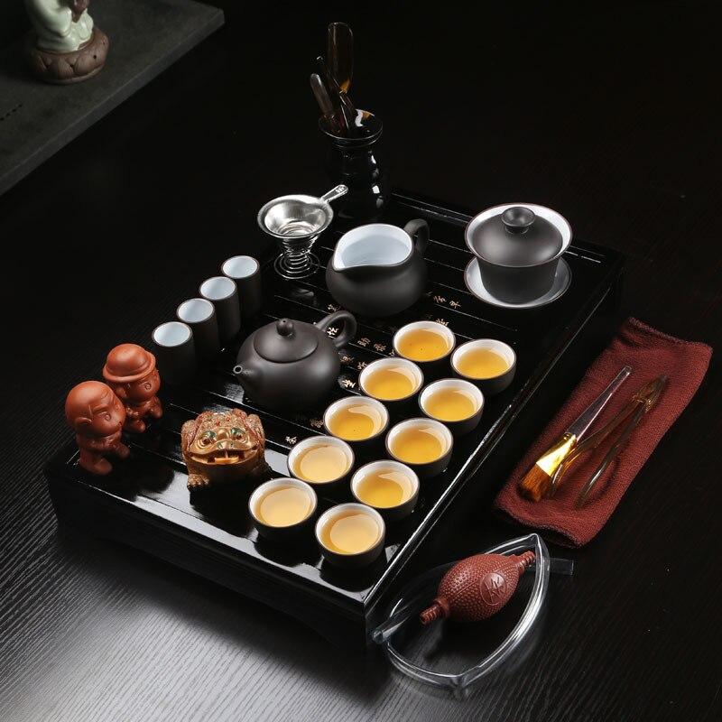 27 piezas juego de té chino Kung Fu juego de té cerámica portátil Teacup porcelana servicio Gaiwan tazas de té taza de té ceremonia tetera-in Teteras from Hogar y Mascotas    1
