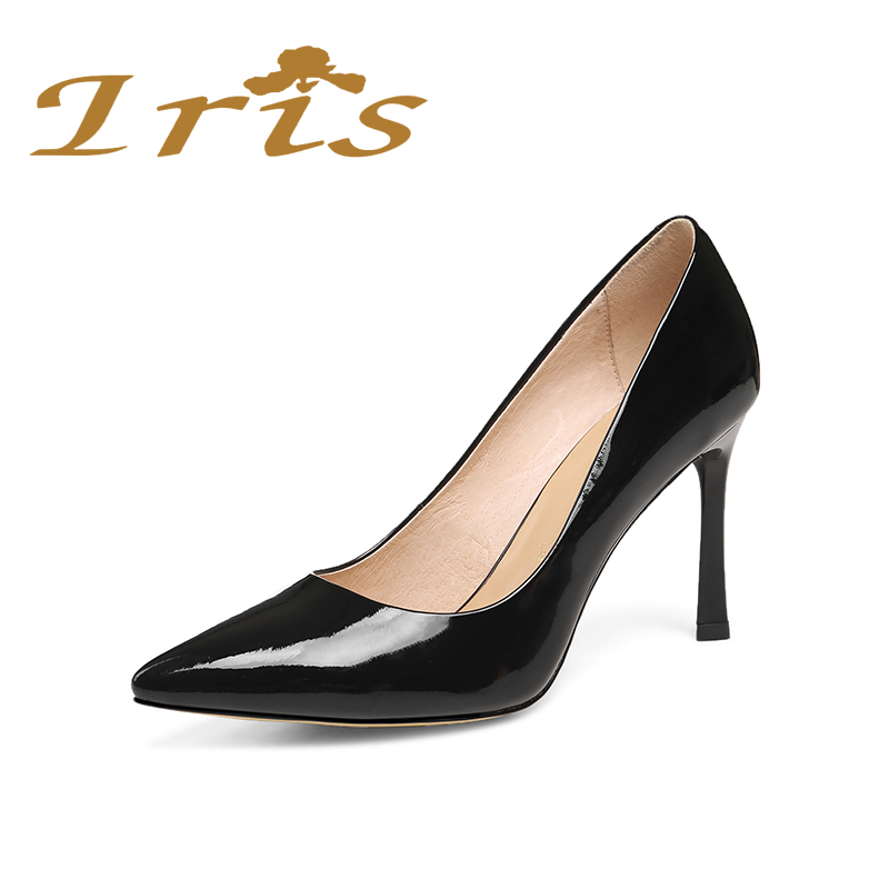 IRIS Sexy Pointed Toe Women Pumps Black High Heels Career Ladies Office shoes Genuine Leather Brand Shoes Woman Luxury 2017 comfy women pointed toe square high heels office shoes woman flock ladies pumps plus size 34 40 black grey high quality