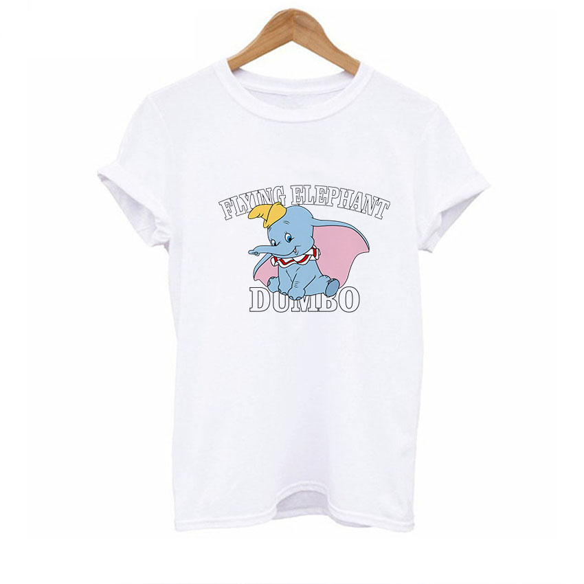 BTFCL Dumbo Women T Shirt Summer Girls Print 2019 Short Sleeve O Neck Cotton Top Loosekawaii Plus Size Funny White Tops Tee in T Shirts from Women 39 s Clothing