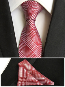 New Designer's Tie Fashion Red Plaids Checks Match High Quality Woven Pocket Square