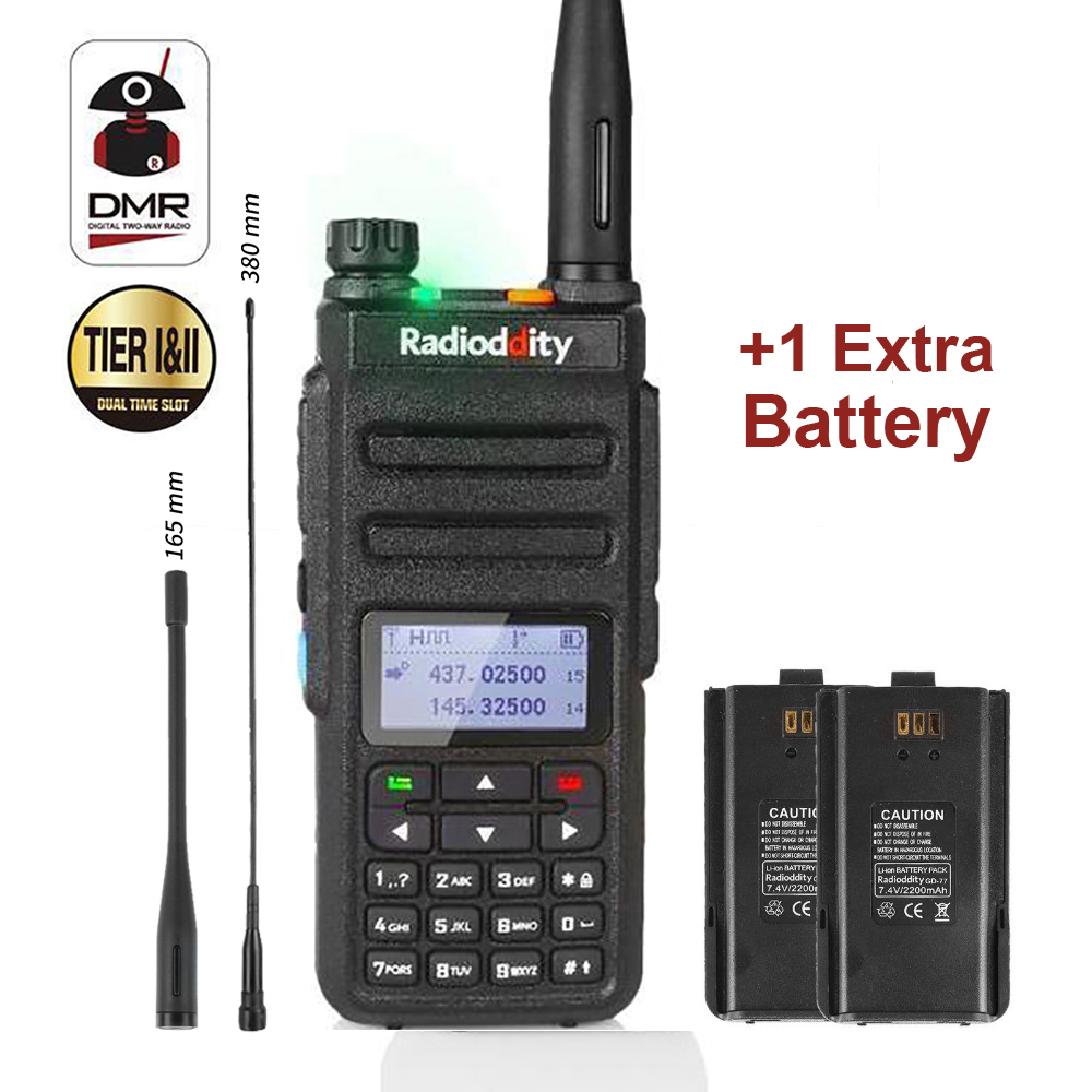 Radioddity GD-77 DMR Slot Dual Band Dual Time Digital/Analógico de Rádio em Dois Sentidos 136-174/400- 470 MHz Ham Walkie Talkie com Bateria
