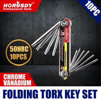 цена на HORUSDY 10 in1 Portable Folding Torx Star Key Bit Screwdriver Wrench Set Tool Kit T6 T7 T9 T10 T15 T20 T25 T27 T30 Hand Tool Set