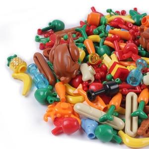 Image 3 - Stadt Freunde Zubehör Teile Gebäude Block Obst Brot Fischfutter Banana Kirsche für Legoe Stadt Blöcke Ziegel Spielzeug für Kinder