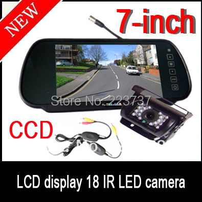 NEW 7 inch LCD Car monitor + Wireless Infrared Waterproof Rear View CCD HD Reversing Camera for Bus / Truck