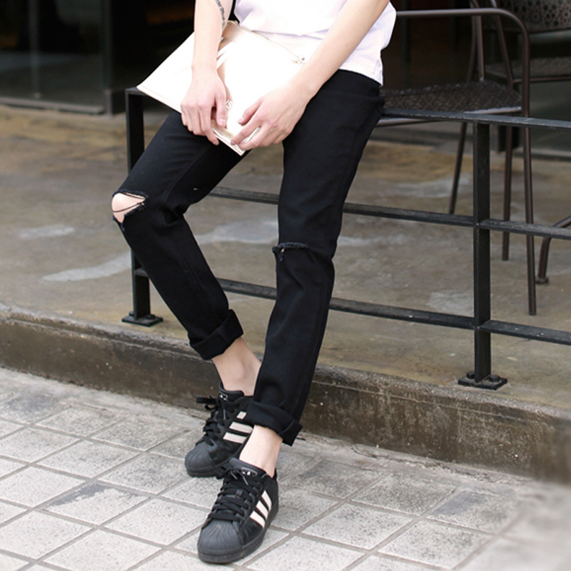 ФОТО 2015 Mens Black Ripped Jeans With On the Holes On the Knee Fashion Men's Distressed Jeans Plus Size 28-36,Jeans Pants Men Q0998